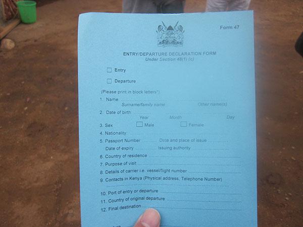 ナマンガ国境出入国カード アリューシャ 移動用の車 インパラホテル 昼食... 関東発 ケニアツ
